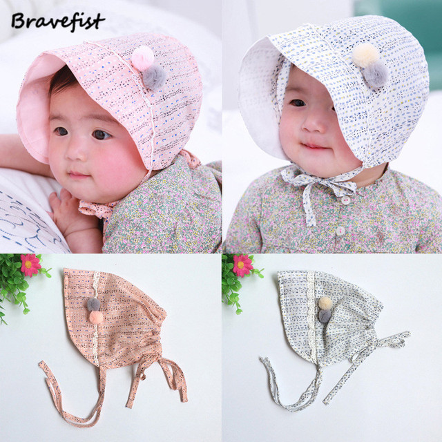a63f9fd165d4 1Pcs lot Korean Small Ball Infant Baby Caps Princess Cap Girl Spring ...
