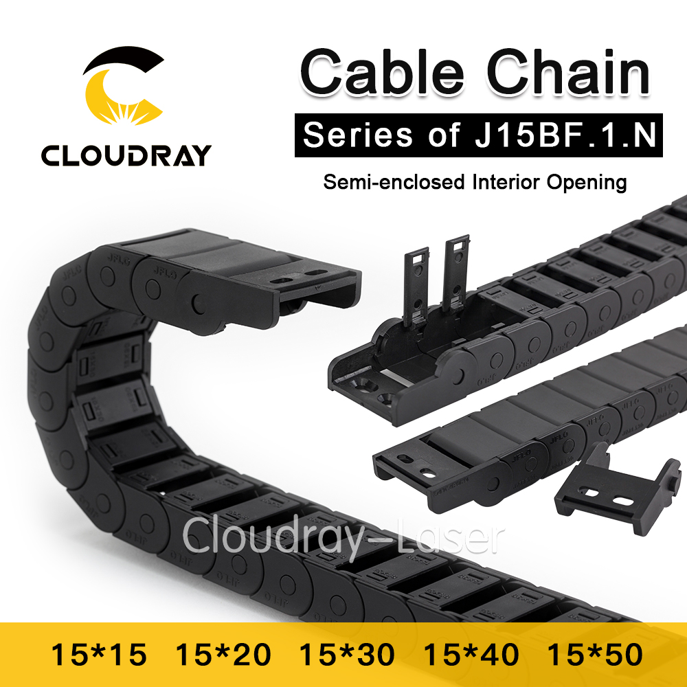 Cloudray Cable Chain Semi-Enclosed Interior Opening 15x15 15x20 15x30 Drag Plastic Towline Transmission Machine Accessories semi closed 25x50mm cable drag chain wire carrier with end connectors plastic towline for cnc router machine tools 1000mm