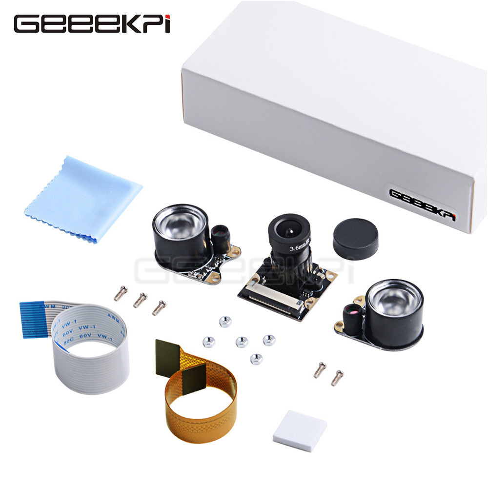 GeeekPi Night Vision 5M OV5647 Camera Adjustable-focus Module Kit & Changeable Cables, Compatible With All Visions Raspberry Pi