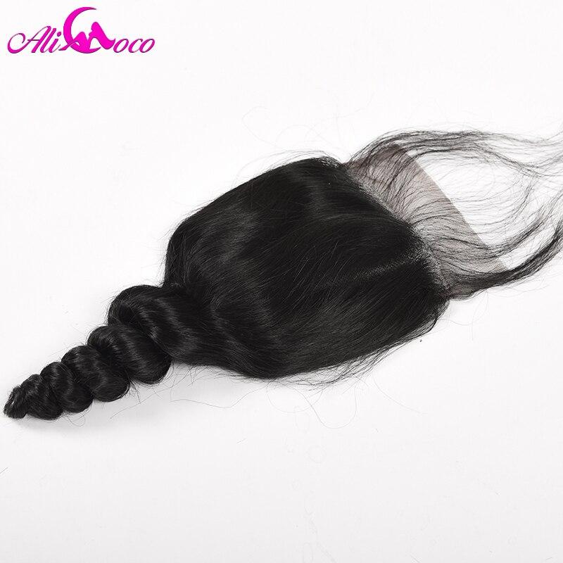 Али Коко волос Малайзии свободные волна закрытия шнурка с ребенком волос 4x4 бесплатная часть 100% человеческих волос не волосы remy натуральный...