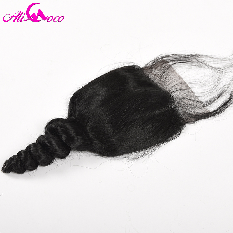 Ali Coco hair Malaysia Loose Wave Lace Closure with Baby Hair 4x4 Free Part 100% Human Hair Non Remy Hair Natural Color
