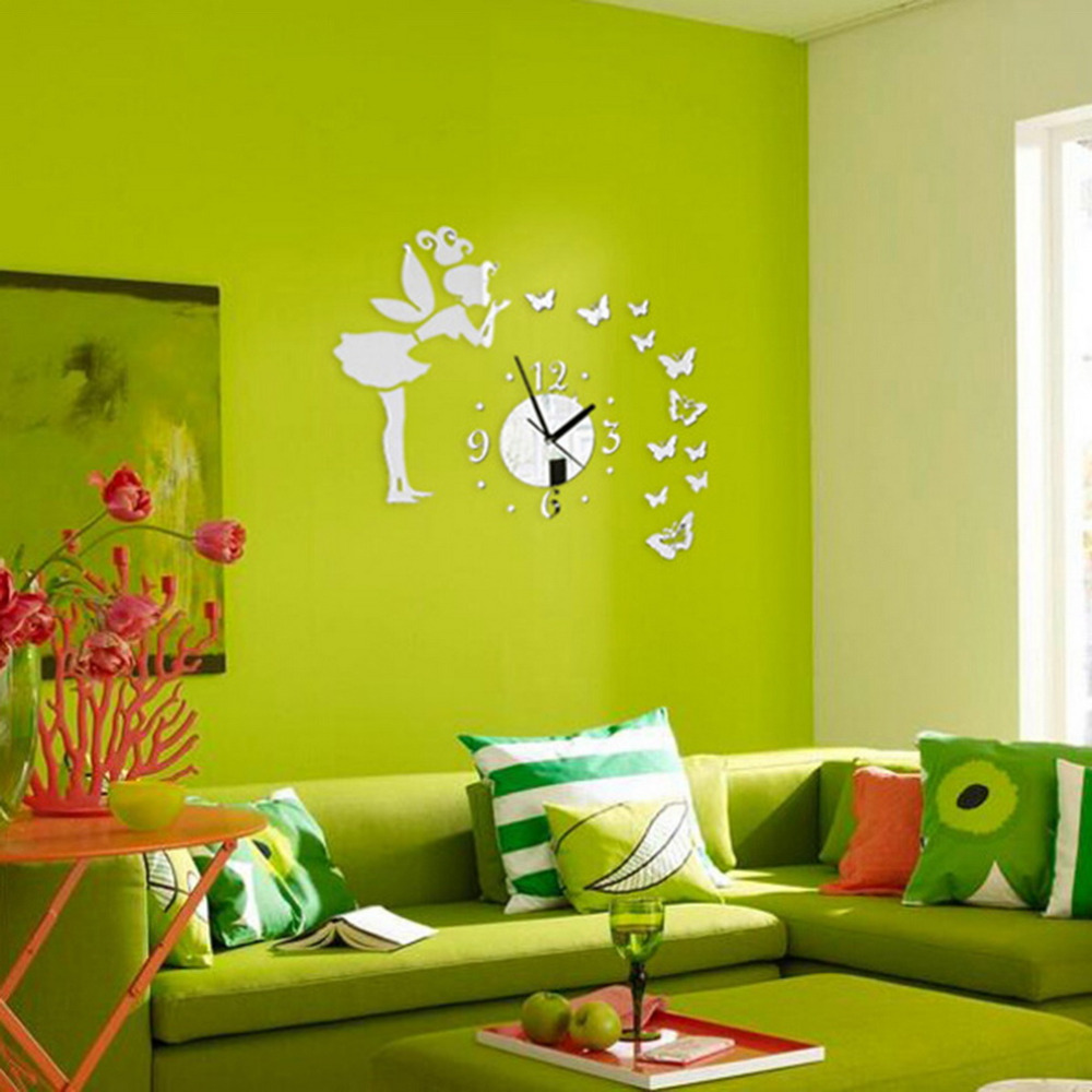 1pc Silver Creative Wall Clock DIY Modern Wall Sticker Fairy ...