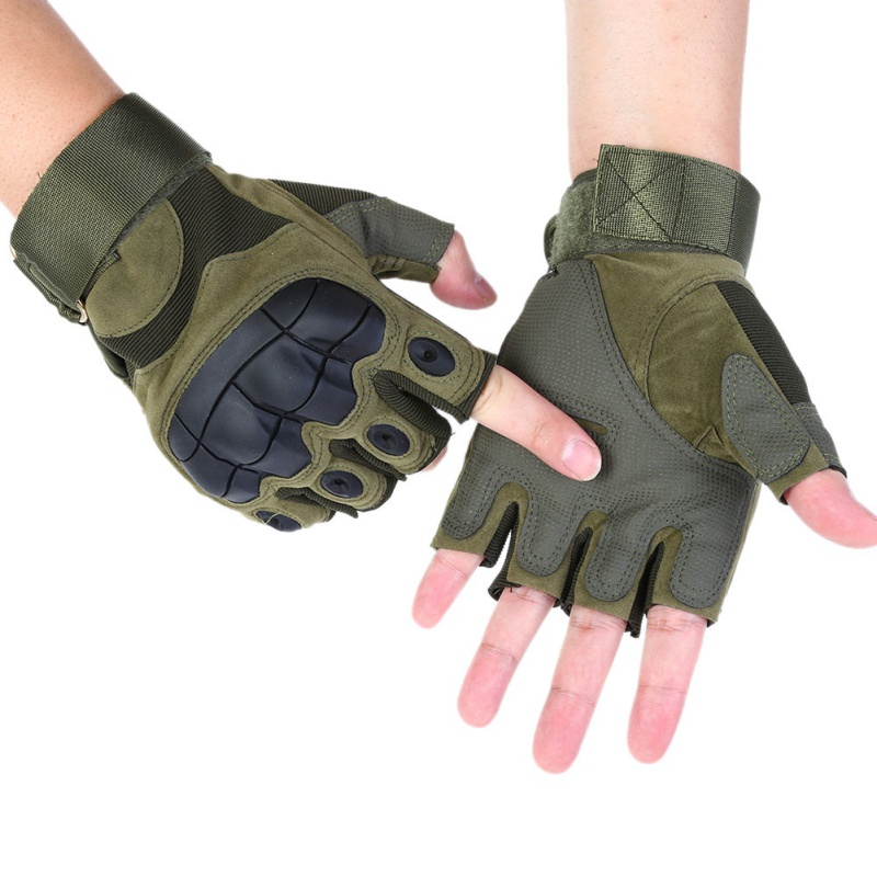 Outdoor Men Tactical Military Army Paintball Half Finger Gloves Shooting Combat Anti Skid Rubber Knuckle Half Finger Gloves in Cycling Gloves from Sports Entertainment