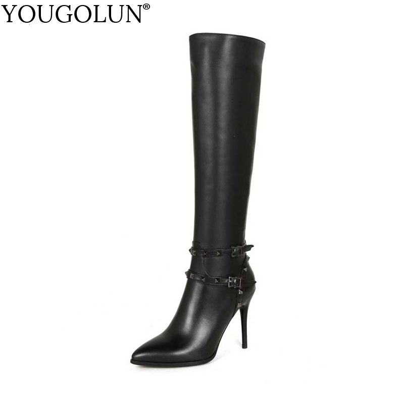 YOUGOLUN Women Winter Knee High Boots 2017 New Genuine Leather Thin Heel 9.5 cm High Heels Black Pointed toe Rivets Shoes #Y-226 yougolun women knee high boots autumn winter genuine leather black thick heel 6 cm high heels rivets pointed toe shoes y 206