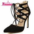 Nueva Manera de Las Mujeres Bombas de La Boda Sexy Zapatos de Tacones Altos Zapatos de Mujer Primavera Verano Otoño Negro Zapatos de Mujer Tacones Delgados # Y0589637L