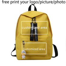 Backpack custom photo printed picture logo student bag fashion small backpack male travel leisure female 2019 new