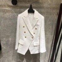 2018 Роскошные Женская мода Белый Новый шерстяного твида пиджак двубортный лоскут карманы Длинные рукава манжеты на пуговицах