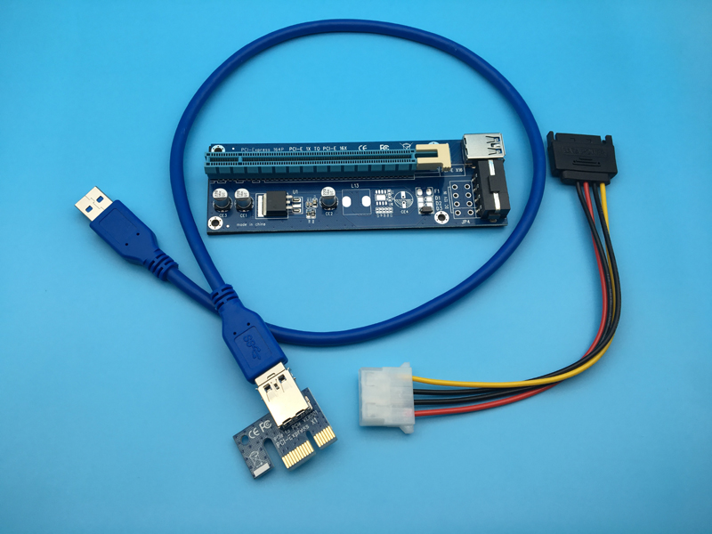 60cm PCI-E PCIe PCI Express 1x to 16x Riser USB 3.0 Extender Cable with Sata to 4Pin IDE Power Supply for BTC Miner RIG