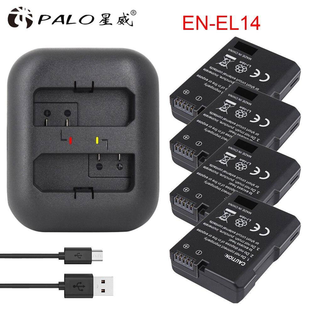 Palo 4 pièces EN-EL14 ENEL14 EL14 EN EL14A Bateria caméra + LED double chargeur USB pour Nikon P7800, D5300, D5200, D3200, D3300, D5100,