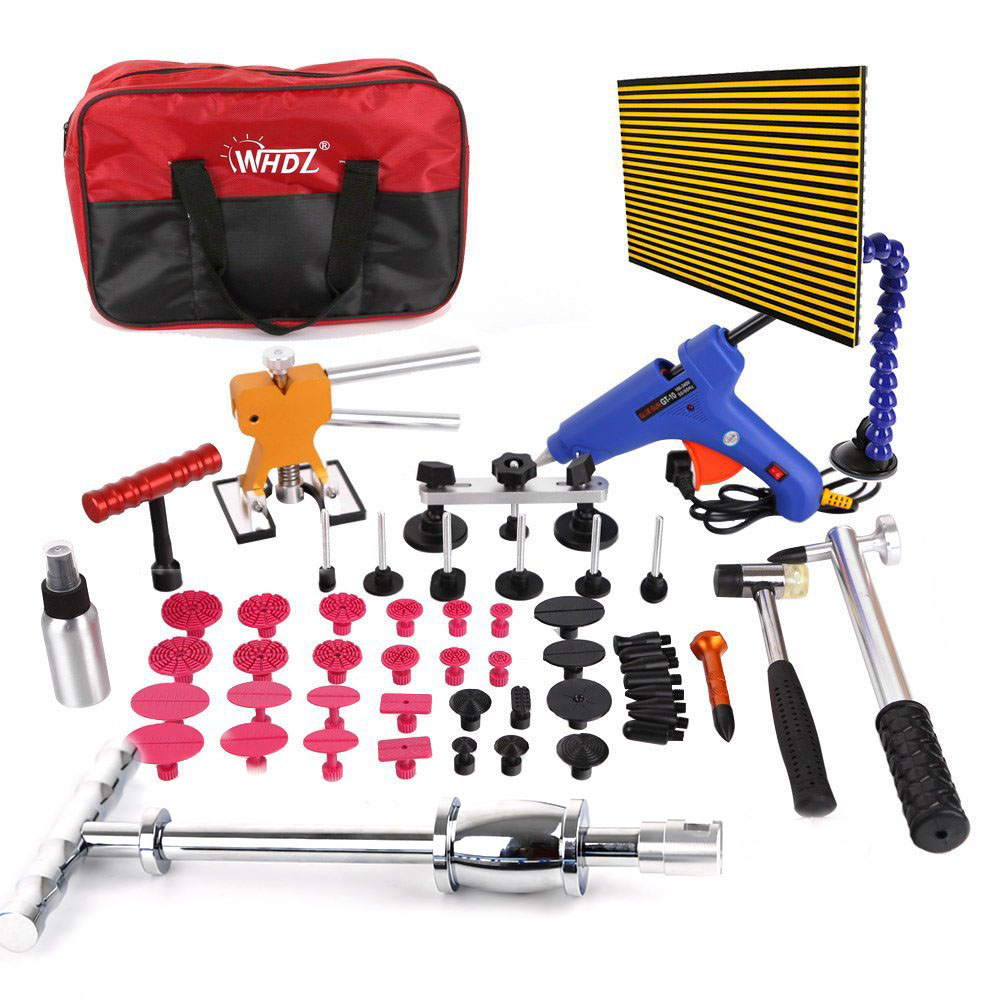 WHDZ Paintless Dent Repair Tool 65PCS Pdr Tool Kit Slider Hammer with Dent Lifter Bridge Puller Set LED Line Board Glue Stricks