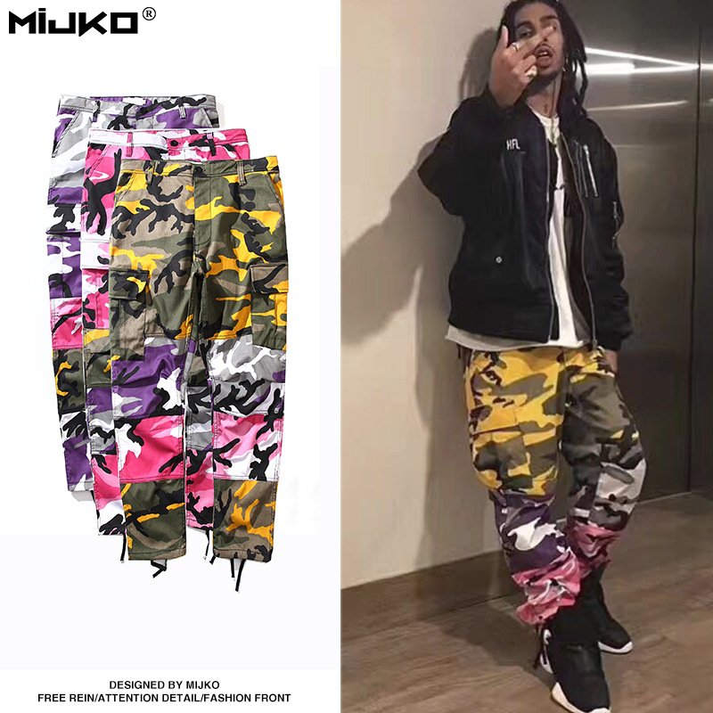 MIJKO 2017 Summer Men Pants New Pink Camouflage Hit Color Cargo Big Pocket  Military Pants Men and Women Casual Pants 906fdb66aed