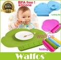 WALFOS grau alimentício Placemat Esteira de Tabela de silicone Bebê bib Infantil Pequena Lanchonete Portátil para crianças de Alimentação Do Bebê do bebê do silicone placemat