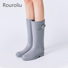 Rouroliu Square Heel Buckle Rainboots Non-Slip Waterproof Water Shoes Woman Wellies Mid-Calf Women Rain Boots RT294