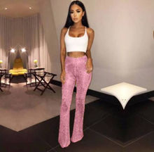 Women Bell Bottom Long Pants Sequin High Waisted Clubwear Party Knit Trousers  2019 Office Lady Workwear Casual