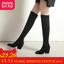 9adaa677b8a ESVEVA 2019 Women Boots Spring Autumn Over The Knee Boots Stretch Fabrics  Sexy Pointed Toe Fashion