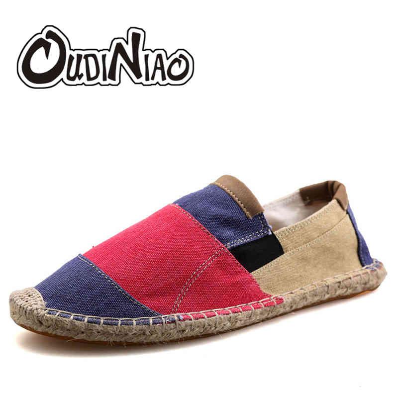 Mens Espadrilles Men Yellow Patchwork Slip On Summer Shoes Men Loafers 2018 Breathable Canvas Men Shoes Fashion Jute Wrapped
