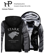 Dropshipping Game of Thrones House Stark Men Sweatshirt Winter Is Coming Hoodie Jacket Sweatshirts Coat Thicken Men Jacket