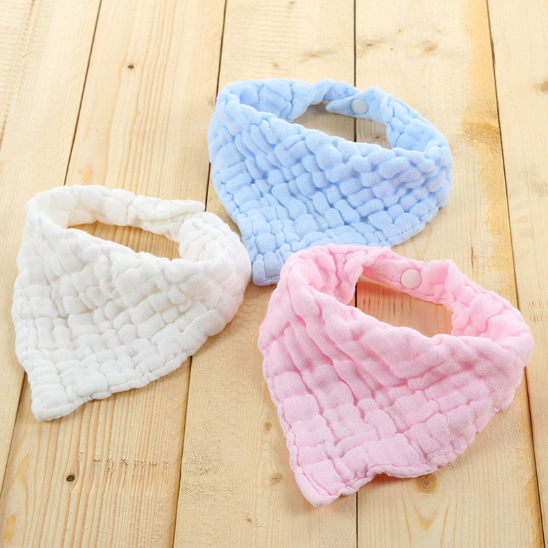1pc Blend Gauze Bibs Burp Cloths Saliva Towel Feeding Triangle Bandana Neonatal Towels Baby Simple Design Soft Pure Cotton