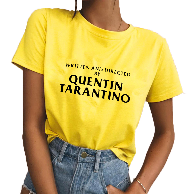 written-and-directed-by-quentin-font-b-tarantino-b-font-sexy-women-t-shitr-slim-round-neck-yellow-fashion-gift-funny-hotmess-cotton-top-tees