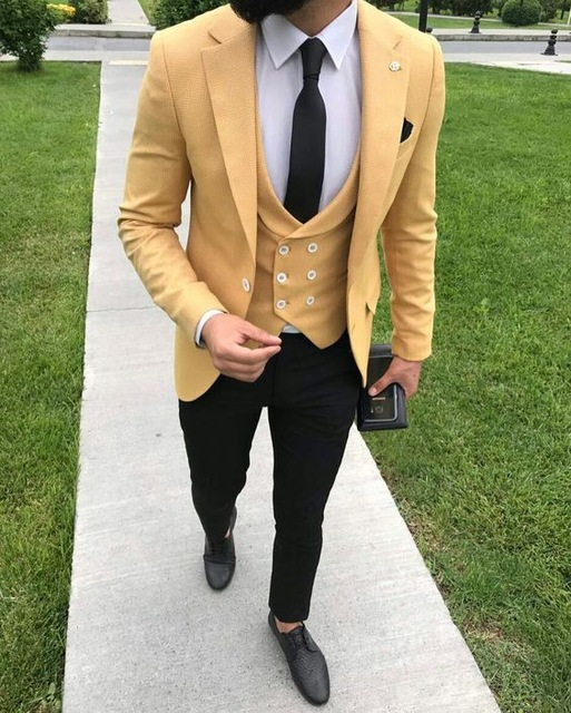 2019 New Yellow Suit Mens Blazer 3 Pieces Wedding Suit With Pants Vest Formal Terno Tuxedo Slim Fit Casual Jacket Costume Homme