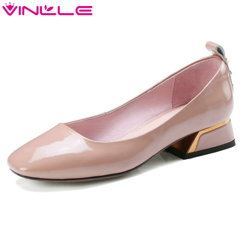 VINLLE 2018 Summer Women Pumps Genuine Leather Slip On Rivet Square High Heel Pointed Toe Ladies Wedding Shoes Size 34-42 nayiduyun women genuine leather wedge high heel pumps platform creepers round toe slip on casual shoes boots wedge sneakers