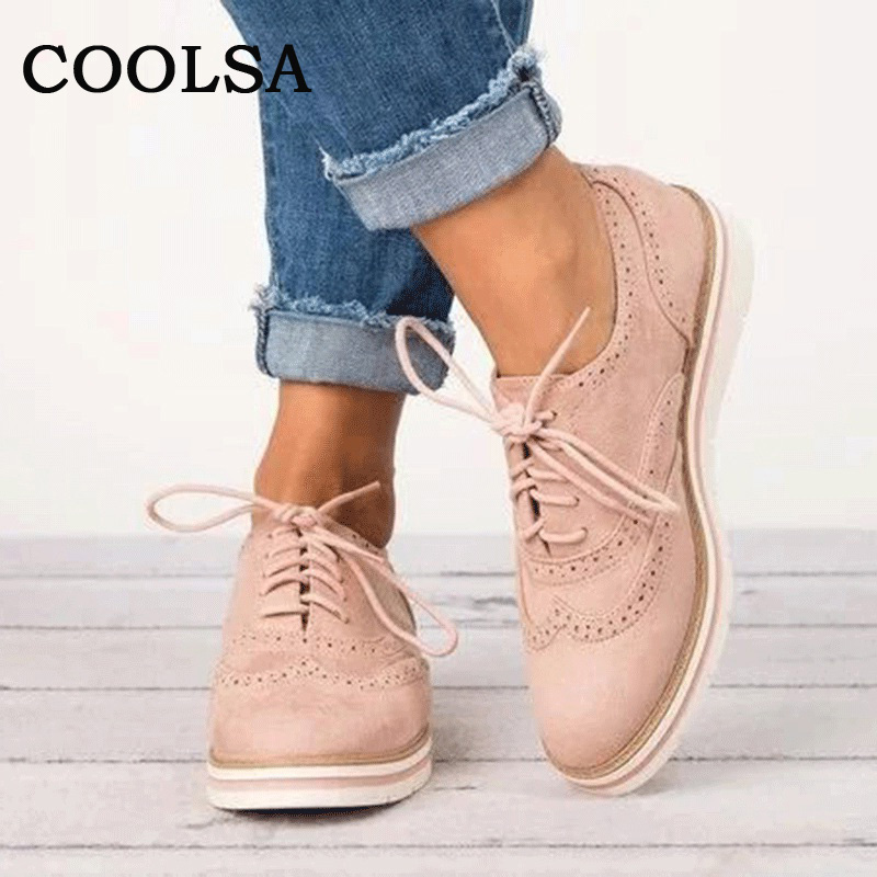 Coolsa Women Brogue Shoes Spring Autumn British Style Woman Shoes Lace Up Oxfords Flat Creepers Cut-Outs Casual Female Footwear new high quality women shoes solid black spring autumn brogue shoes woman s fretwork lace up flat heels round toe oxfords shoes