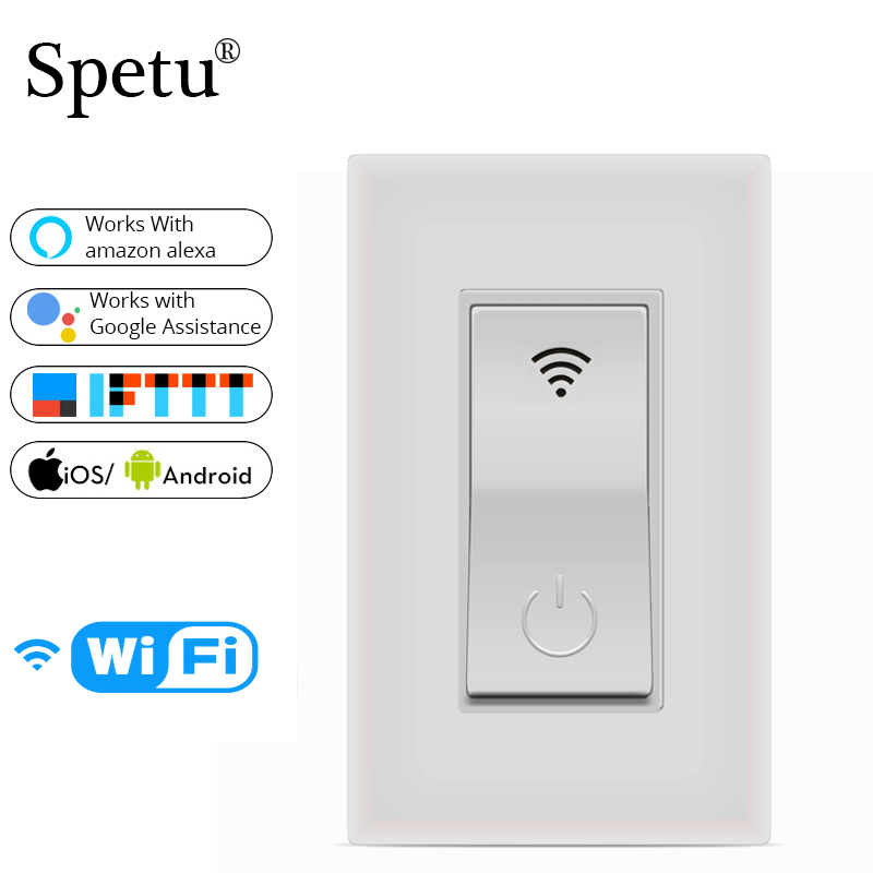 Spetu Wifi Wall Light Switch US 1 Gang Touch WiFi Remote Control Smart Home Wall Switch Support Amazon Alexa Google Home,IFTTT
