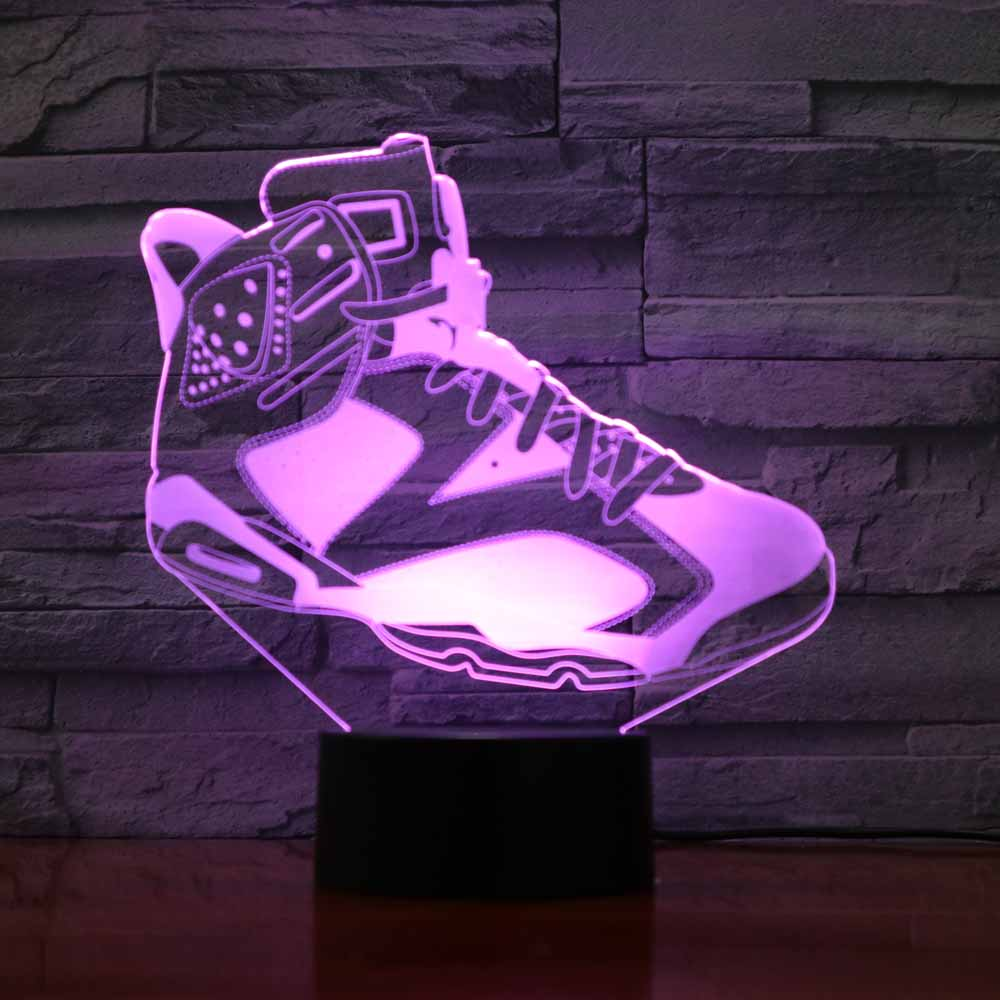 7 Colors Changing Usb Home Decor Table Lamp 3D Led Shoes Modelling Living Room Lighting Night Light Child Sports Creative Gifts
