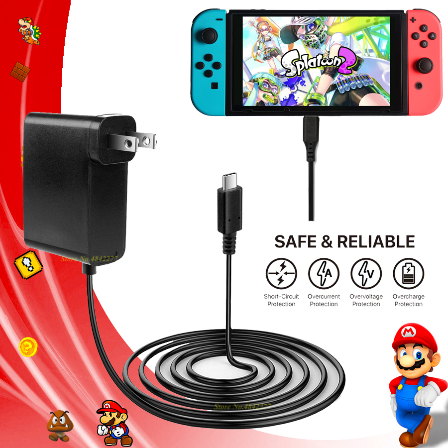 Nintend Switch EU/US Plug AC Adapter Travel Charger Adapter Nintendoswitch Charging Power Supply NS Console Accessories GameNintend Switch EU/US Plug AC Adapter Travel Charger Adapter Nintendoswitch Charging Power Supply NS Console Accessories Game