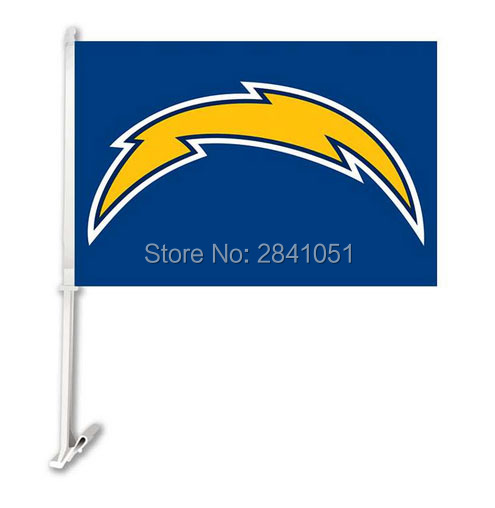 "San Diego Chargers Car: 2PC San Diego Chargers Football Car Flag 12""x18"" Custom"