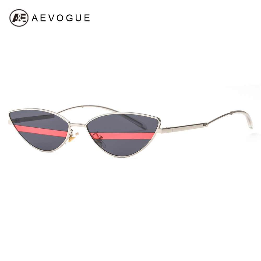 AEVOGUE солнцезащитные очки Для женщин Кошачий глаз уникальные линзы в  полоску изогнутые руки двойной Цвет объектив 7c3db9a931a