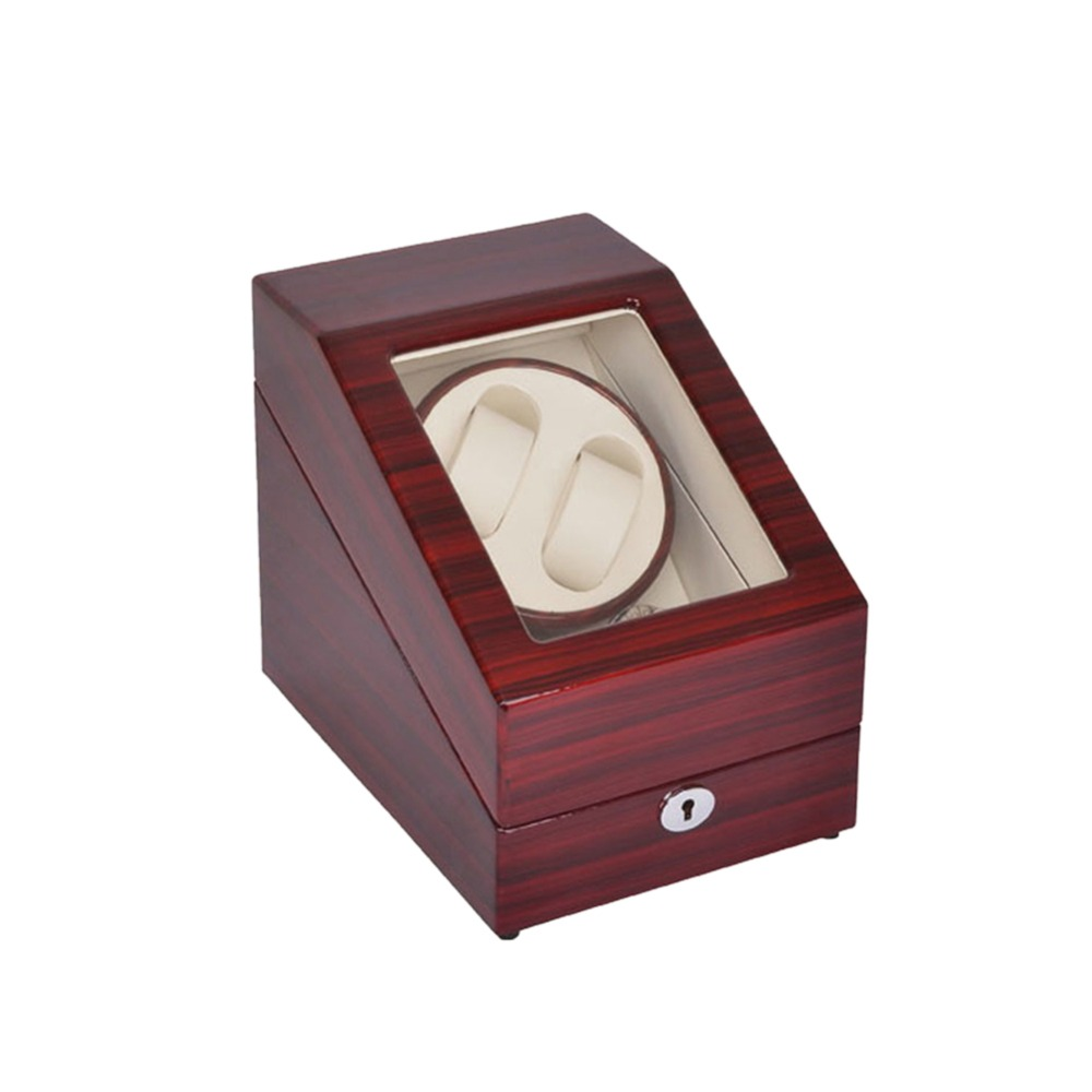 Watch Winder ,LT Wooden Automatic Rotation 2+3 Watch Winder Storage Case Display Box (Outside is rose red and inside is white) 2016 latest luxury 5 modes german motor watch winder yellow spray paint wooden white pu leater inside automatic watch winder