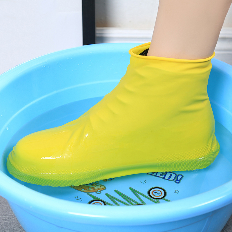 1 Pair Reusable Latex Waterproof Rain Shoes Covers Slip-resistant Rubber Rain Boot Overshoes Unisex Cycling Sport Shoe Cover
