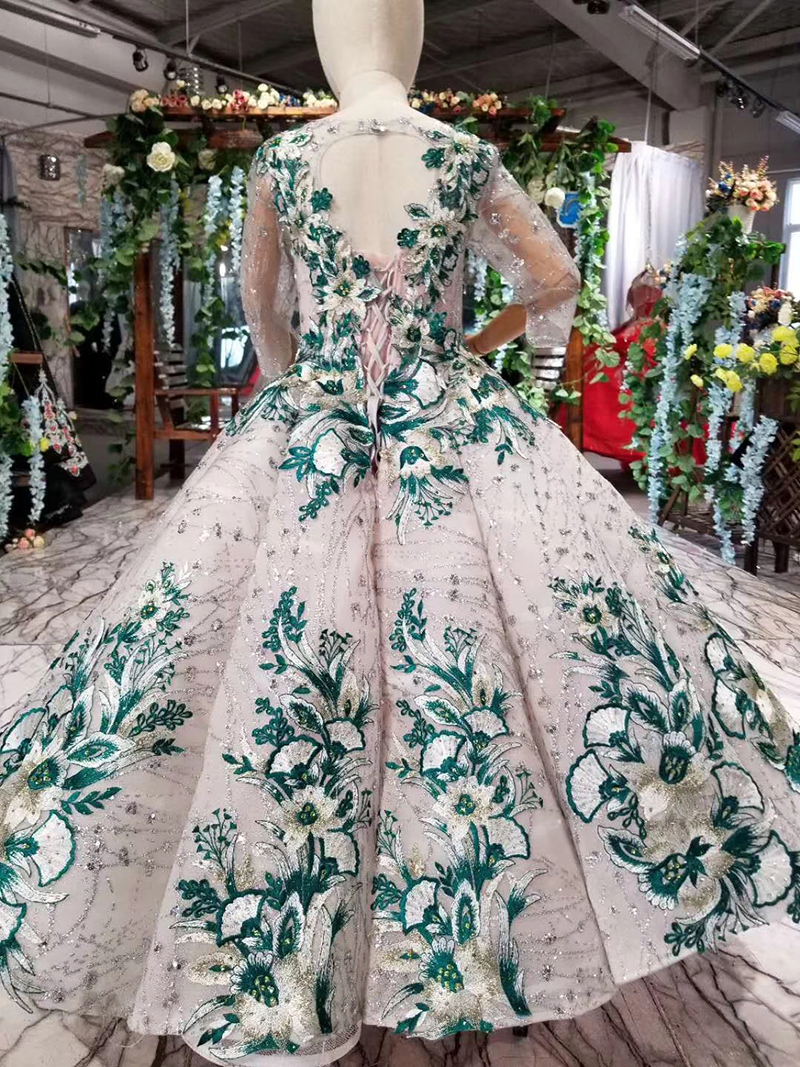 Colors Green Waves Flower Muslim Girls Pageant Dresses First Communion Lace Fashion Arabic High-end Flowers Girl Evening Dress