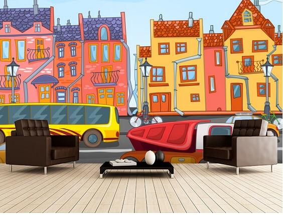 Custom children's wallpaper, Cartoon City,3D wallpaper murals for children's room living room bedroom background PVC wallpaper 3d wallpaper murals bridge spectacular scenery 3d wallpaper living room desktop wallpaper background