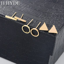 H:HYDE 1 Set=3 pairs High Quality 2018 Fashion Simple Triangle Square Circle Word Ear for Women Geometric Stud Earrings Female(China)