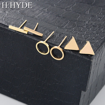 H:HYDE 1 Set=3 pairs High Quality 2018 Fashion Simple Triangle Square Circle Word Ear for Women Geometric Stud Earrings Female