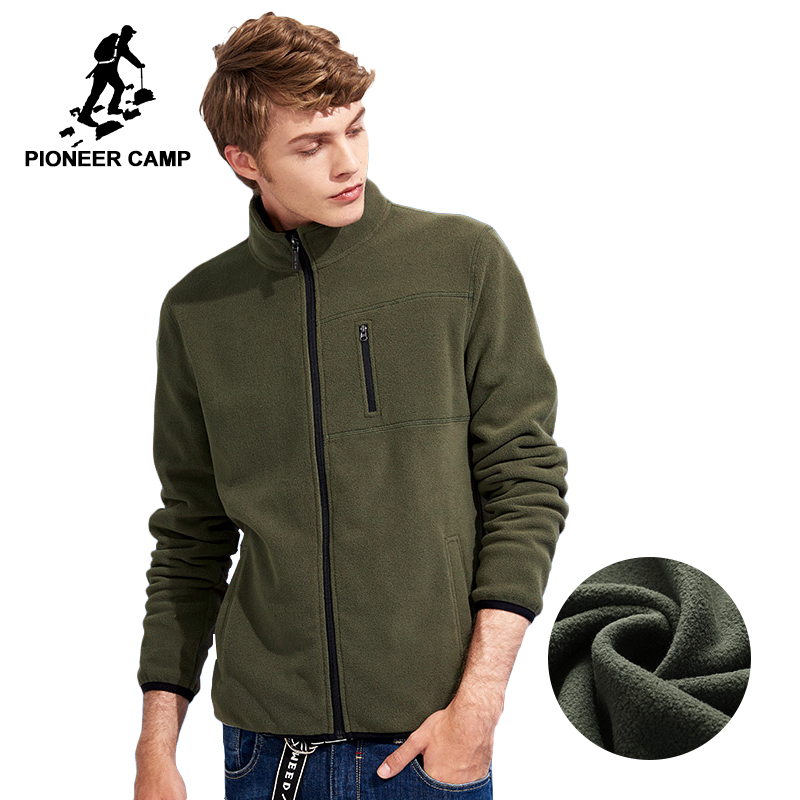 Pioneer Camp New winter thick zipper sweatshirt men brand clothing solid fleece warm tracksuit male green blue black AJK702388