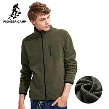 Pioneer Camp nowe zimowe gruby suwak bluza z kapturem mężczyzn marki odzież stałe z polaru ciepły dres mężczyzna zielony niebieski czarny AJK702388