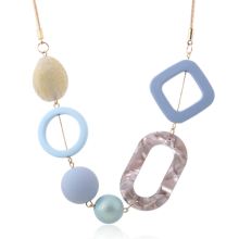 Popular Acrylic Beads Necklace Sweater Chain Trendy Geometric Wood Necklaces & Pendants Statement Collar Women  Choker Gift