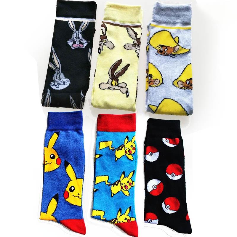 New Cartoon Rabbit   Sock   Casual Hip Hop Creative Personal Pokemon Elf Ball Pikachu Funny Novelty Black Yellow Men Cotton Hombre