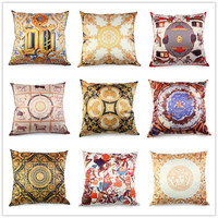 European Luxury Silk Like Brocade Geometric Cushion Cover Home Geometricos Funda Cojin Sofa Pillow Case Geometric