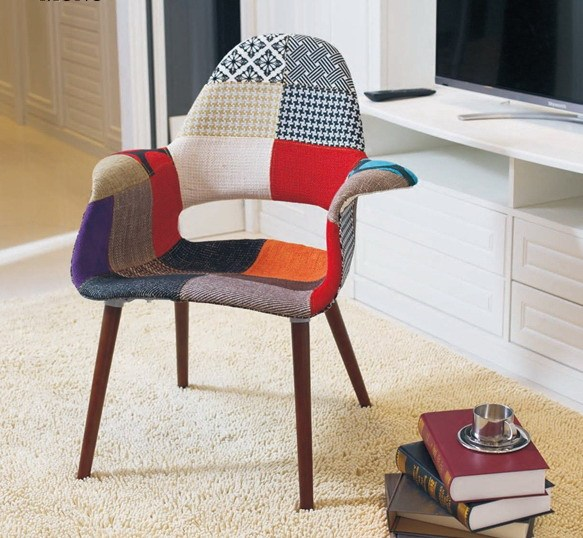Missoni Fabric Covered Bergere Chair: Patchwork Fabric Upholstered Fabric Soft Cover Chair Wood