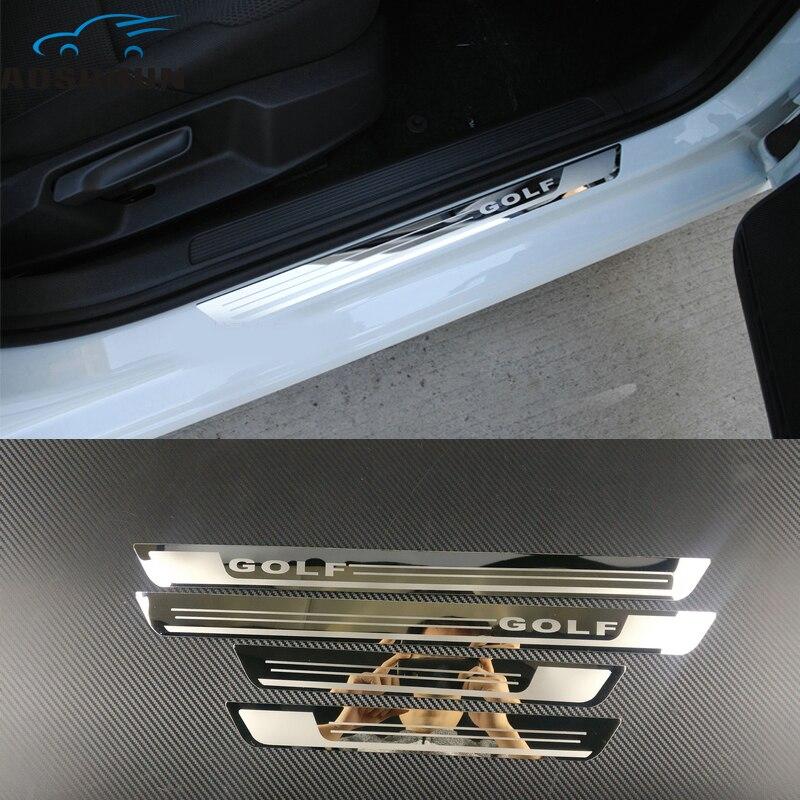 Автомобиль-Стайлинг нержавеющая сталь боковой двери Накладка порога отделка подходит для автомобиля Аксессуары для Фольксваген Гольф 7 MK7 2012