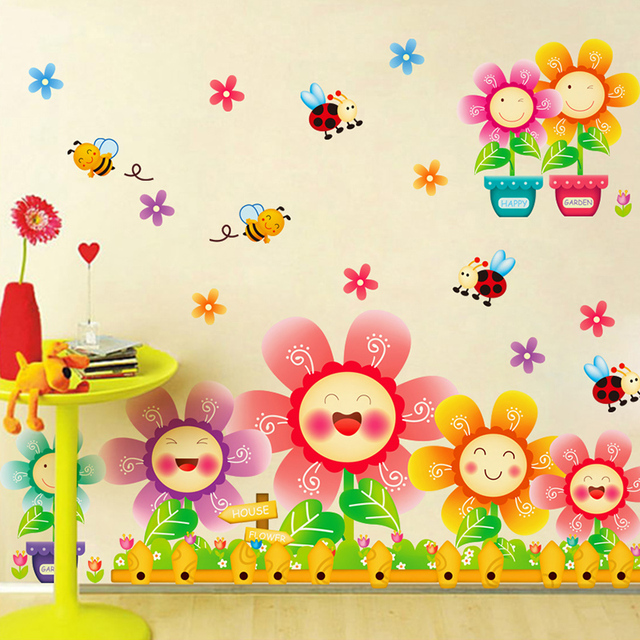 Chinese Wholesale Happy Smiling Sunflower Sticker Cute Cartoon Bees