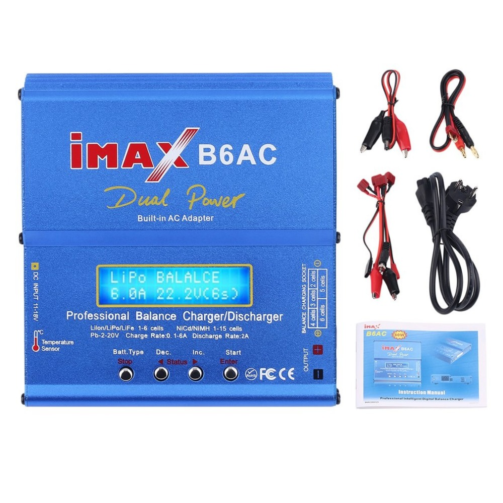 Professional iMAX B6AC Dual Power Multifunctional Lipo NiMH RC Battery Balance Charger Discharger + EU Plug skyrc d100 2 100w ac dc dual balance charger 10a charge 5a discharge nimh lipo battery charger twin channel charge