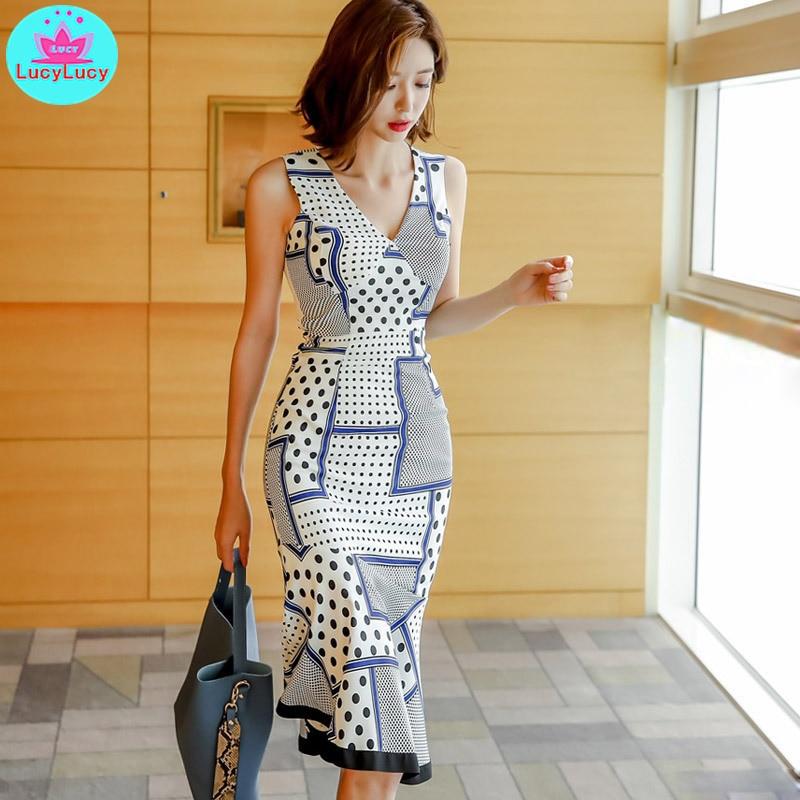 Women's 2019 summer Korean version of the new ladies temperament V-neck Slim thin print bag hip fishtail dress