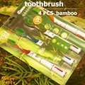 imported high quality superfine nano soft 4 PCS bamboo toothbrush Teeth stains Deep cleaning