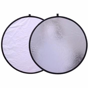 2 w 1 24 #8222 60cm biały i srebrny uchwyt Multi składany przenośny odbłyśnik do akcesoriów do studia fotograficznego tanie i dobre opinie ROUND 60CM 2 IN 1 0 3KG 25*25*5cm NiYi