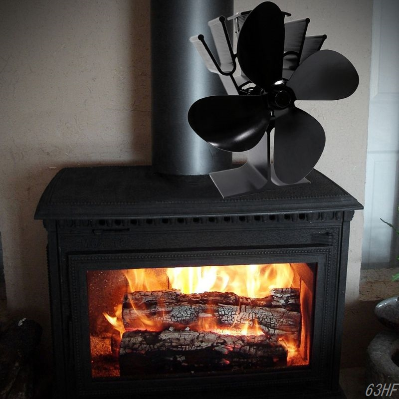 Powered Stove Fan with Magnetic Thermometer 4 Blade Wood Stove Fans Aluminium Silent for W